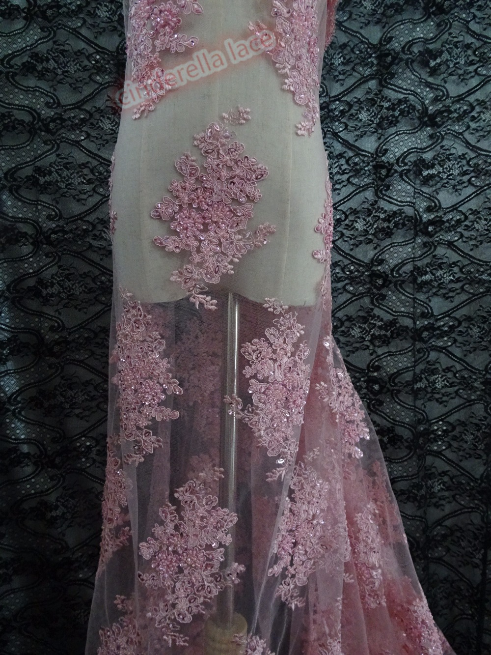 New beaded embroidery lace mesh baby pink african net fabric for evening dress/party dress for bridal dress-in Lace from Home & Garden    1