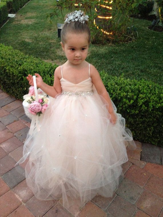 37a37c965636 2017 Spaghetti Straps Tulle Flower Girl Dresses for Wedding with Crystal  Sash Pink Tulle Puffy Ball Gown for Kids with Bow-in Flower Girl Dresses  from ...