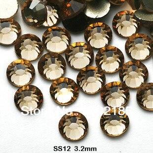 Ss12 3.0 - 3.2 MM 1440 unidades/pacote atacado Smoked Topaz cor falt volta strass frete grátis cristal Nail Art strass