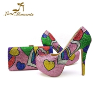 Beautiful Pink Rhinestone Adult Ceremony High Heels Mix Purple Green Blue Crystal Wedding Party Shoes with Matching Bag Pumps