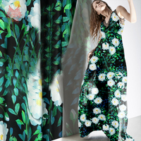 American Style Green White Floral Print 100 Silk Crepe De Chine Fabric Apparel For Dress Natural