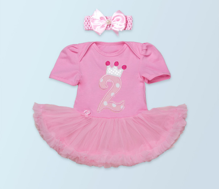 New Baby 2st Birthday Gift Fashion Newborn Jumpsuit Clothes Set Princess Girl Short Sleeve Rompers Tutu Dress Bows Headband Suit