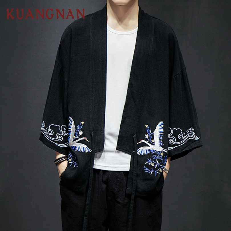 254f56c3767b6 KUANGNAN Japon Streetwear Vinç Nakış Kimono Ceket Erkekler Giyim 5XL  Rüzgarlık Ceket Erkekler Giyim 2018 Erkekler