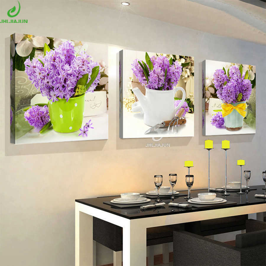Canvas Prints Wall Art Modular Image Triptych Flowers Poster Painting Calligraphy Paintings For Kitchen Vintage Home Decoration