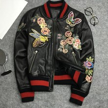 Womens High quality real leather embroidery Bomber Jackets 2019 spring autumn sheepskin coat women S486