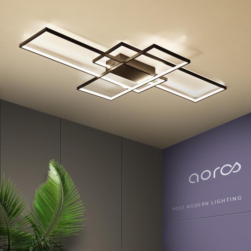 Néo Gleam Rectangle aluminium plafond moderne à LEDs lumières pour salon chambre AC85-265V blanc/noir plafonniers luminaires
