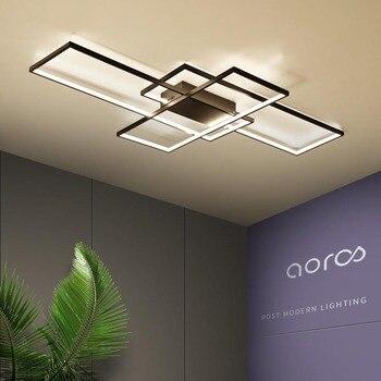 NEO זוהר מלבן אלומיניום מודרני Led תקרת אורות סלון חדר שינה AC85-265V לבן/שחור תקרת מנורת גופי