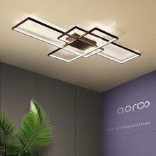 Neo gleam luminária led retangular de alumínio, moderna, para sala de estar, quarto, AC85 265V branco/preto, luminárias para teto