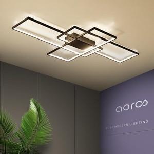Image 1 - Neo gleam luminária led retangular de alumínio, moderna, para sala de estar, quarto, AC85 265V branco/preto, luminárias para teto