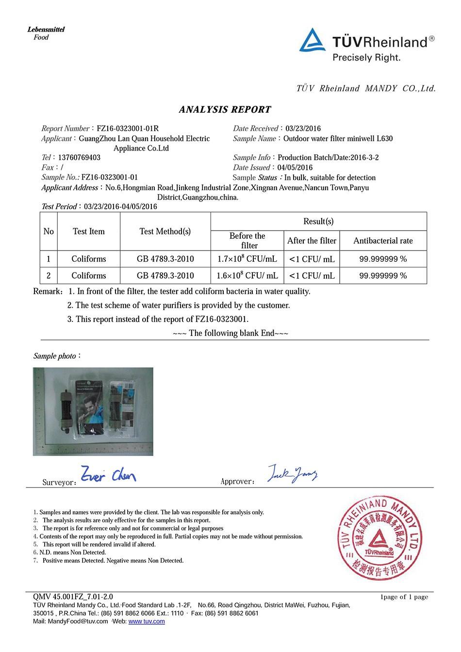 miniwell L630 TUV test report