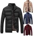 Cotton-Padded Winter Coat 2017 Slim Fit Thick Warm Mens Casual Solid Bubble Down Jacket Zipper Parka Coat Plus Size Jacket M-4XL
