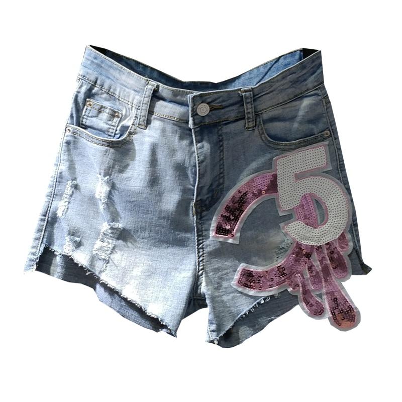 Plus Size 3XL!High Waist Denim Shorts Women Summer New Hole Sequins Vintage Loose Wide Leg Jeans Shorts
