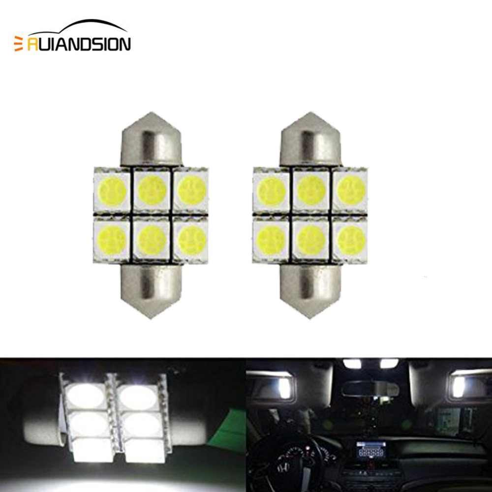 "2X Festoon 28mm 1.10"" 31mm 1.25"" 5050 6SMD DE3021 DE3022 LED Xenon White Interior Lights Bulbs 12VDC Dome roof Door stop light"