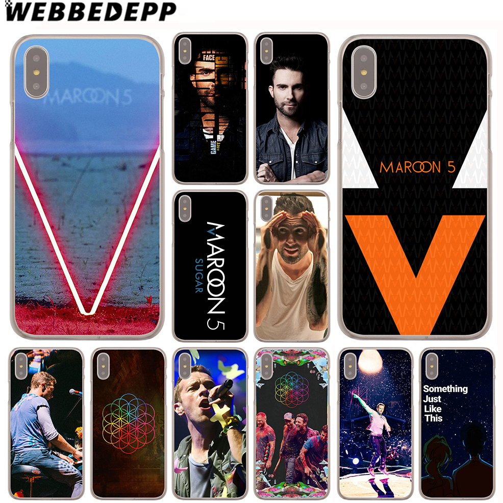 WEBBEDEPP Maroon 5 Coldplay Bands Case for iPhone X or 10 8 7 6 6S Plus 5 5S SE 5C 4 4S