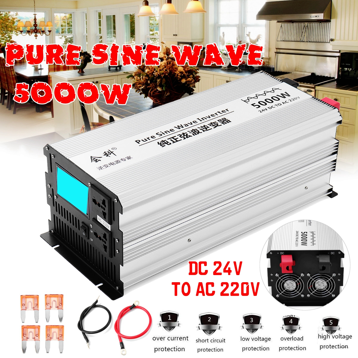 Onduleur onde sinusoïdale pure 2500 W 5000 W Pic 50Hz DC 12 V/24 V/48 V à AC 110 V/220 V transformateur Converte led affichage Onduleur
