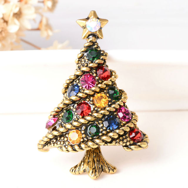 New Christmas Gifts Antique Gold Color Pins And Brooches For Women 18 Style Rhinestone