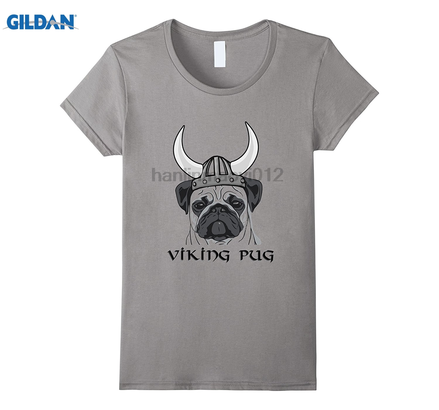 GILDAN Viking Pug T-Shirt - Funny, Cute, Dog Lovers, Breeds, Animal Dress female T-shirt