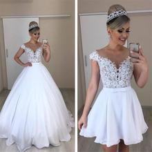 Detachable A Line Wedding Dresses 2019 Floor Length Dress