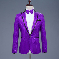 Mens Shiny Purple Sequin Jacket Men Nightclub DJ Prom Suit Blazer With Tie Men Wedding Party Dance Stage Costumes for Singer XXL