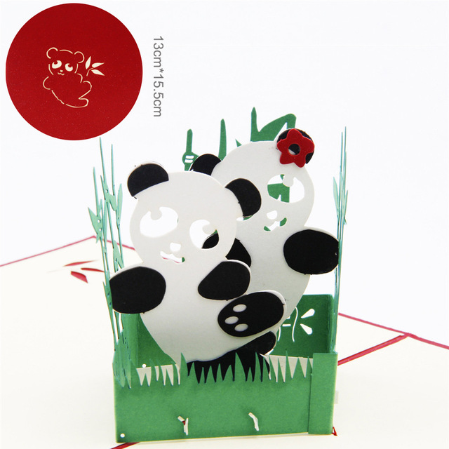 1 pc 3d panda birthday cards gifts for children festival 1 pc 3d panda birthday cards gifts for children festival thanksgiving blessings card free shipping invitation bookmarktalkfo Image collections