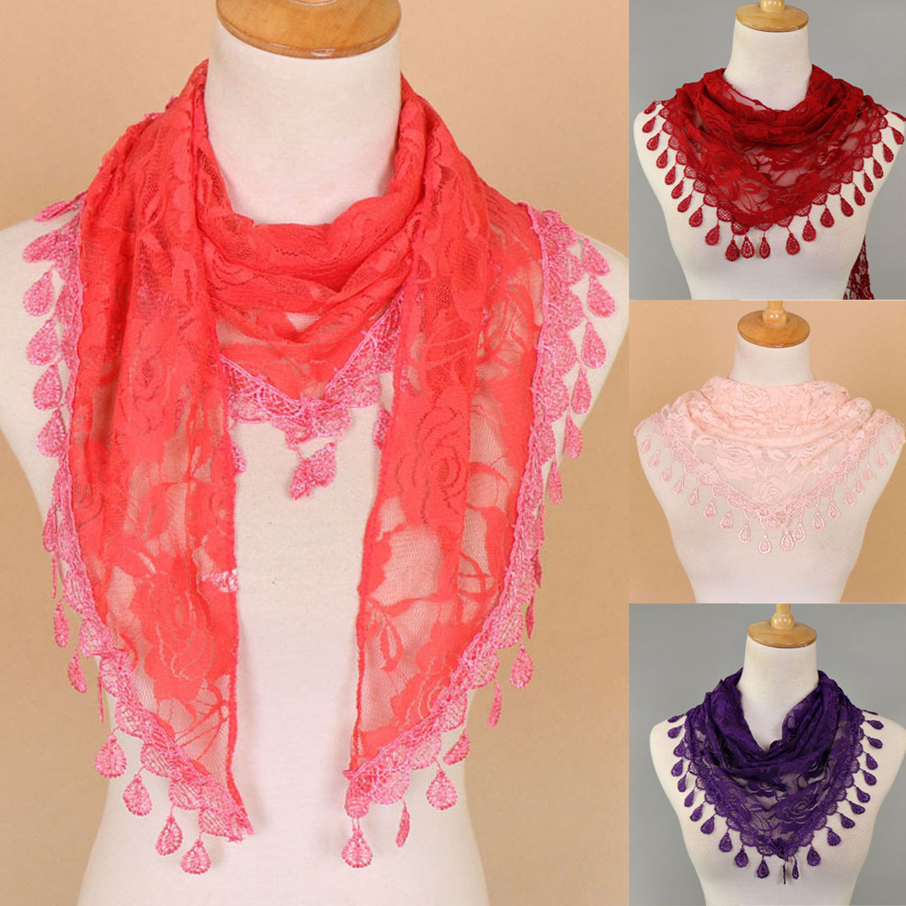 Women Lace Tassel Rose Floral Hollow Scarf Shawl Lady Wraps Scarves Dropshipping Decoration Accessories Discount