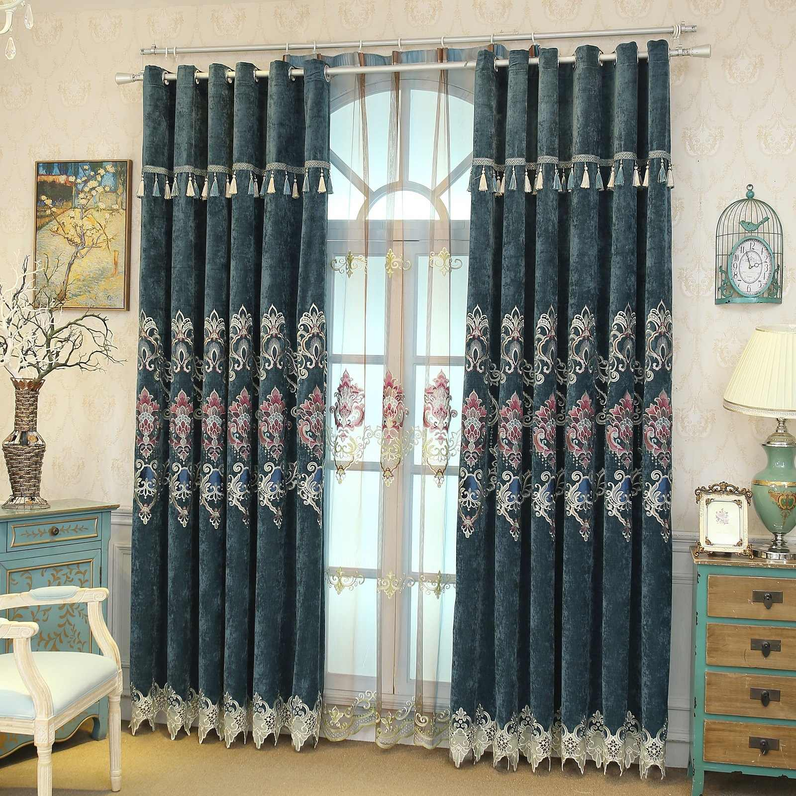 New European Chenille Curtains for Bedroom High-grade Embroidery Fabric Valance Curtains for Living Dining Room Tulle