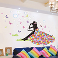 [SHIJUEHEZI] Cartoon Girl Wall Sticker DIY Blowing Bubbles Flower Butterflies Mural Decals Home Decor for Living Room Kids Room
