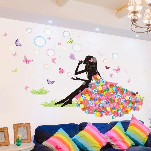 Shijuehezi girl wall sticker blowing bubbles flower pvc cartoon butterflies wall art home decor