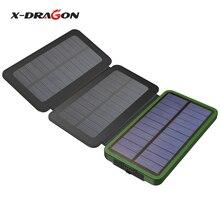 X-DRAGON Más Nuevo Portátil 10000 mAh Cargador de Panel Solar Cargado por Solar o Micro usb juego para iPhone Samsung Nokia Sony Huawei.