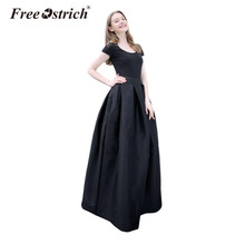 Free Ostrich Vintage Pleated Long Skirt Women Evening Skirt Solid Pocket Floor-Length Party Skirt Autumn Winter faldas mujer