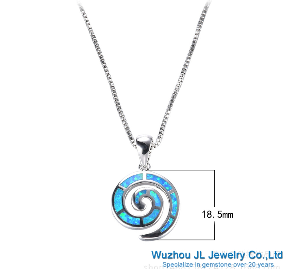 Listen to the sound of the blue sea opal blue conch pendant necklace with 925 sterling silver chain