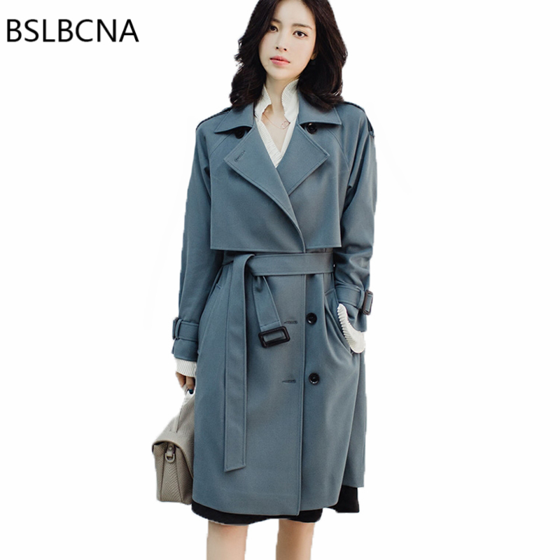 Windbreaker Female Medium Length Korean 2018 Autumn Clothes Elegant Office Lady Bodycon Double Breasted   Trench   Coat Woman A241