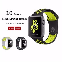 1:1 Original for apple watch NIKE band 42mm Silicone strap men Rubber bracelet wrist With Adapter for apple watch band Series 2