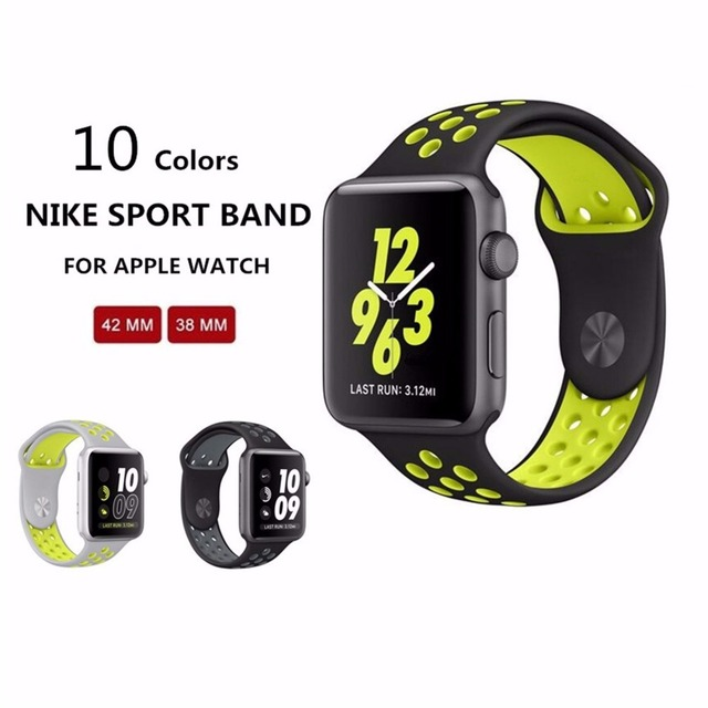 competitive price 71314 75ca7 11 Original for apple watch NIKE band 42mm Silicone strap men Rubber  bracelet wrist With Adapter for apple watch band Series 2