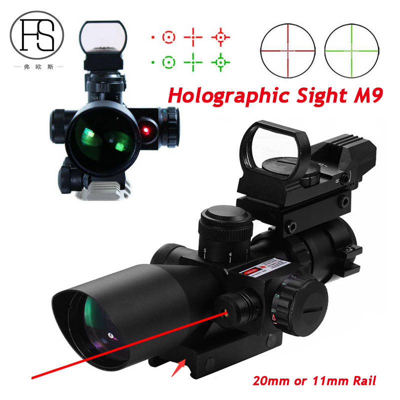 Holographic Sight Tactical 2.5-10x40 Riflescope Red Green Dual illuminated Mil-dot Scope With Red Laser Sight 11mm Or 20mm Rail 3 10x42 red laser m9b tactical rifle scope red green mil dot reticle with side mounted red laser guaranteed 100%