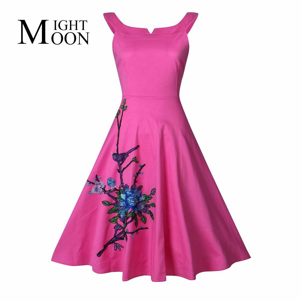 MOONIGHT Fashion Embroidery Bird Floral Dresses 2018 Summer Spaghetti Strap Women A Line Dress