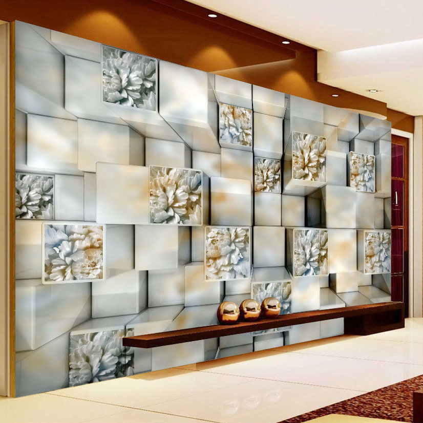 Wallpapers Modern 3d Stereo Cube Marble Carving Abstract Art Photo Mural Living Room Tv Sofa Backdrop Wall Decor Non-woven Custom Wallpaper