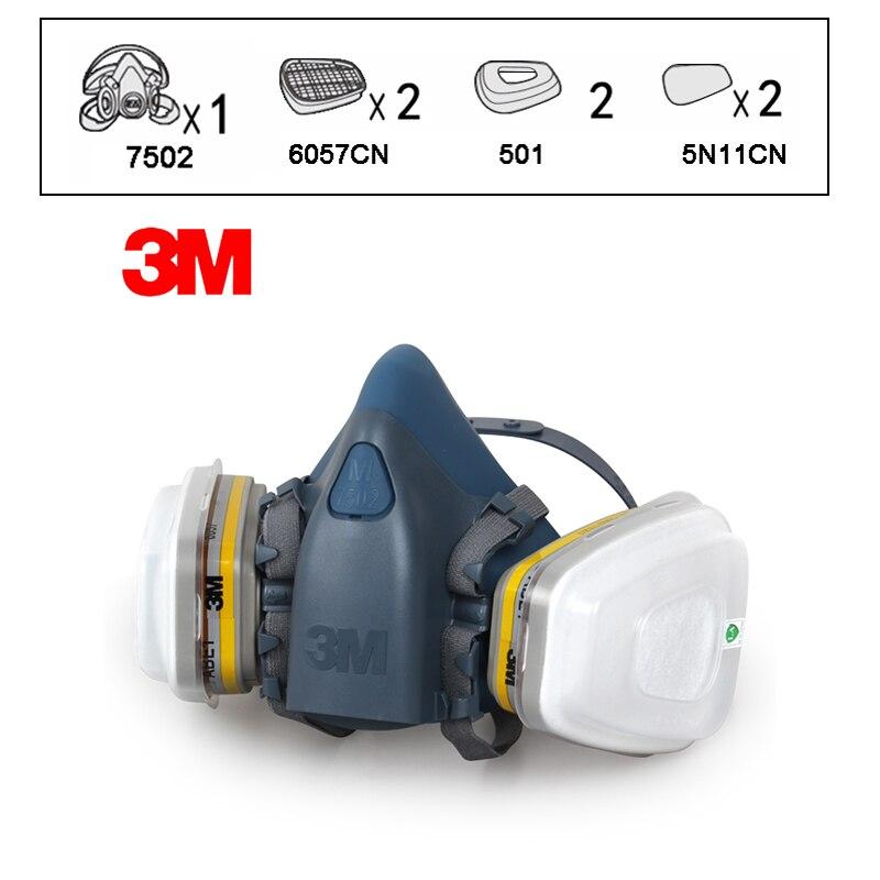 3 M 7502 + 6057 masque respiratoire demi-visage masque respiratoire réutilisable contre la poussière/gaz organiques/chlore 7 articles pour 1 Set LY00