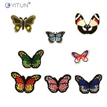 YITUN Colorful Butterfly Pat Embroidery Iron on Patch DIY Badge for Wedding Dress Embroidery Patches Decro T-shirt Pin Badge(China)