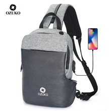 OZUKO Multifunction Chest Pack ผู้ชายแฟชั่นไหล่ Crossbody กระเป๋าชายกันน้ำกระเป๋า USB ชาร์จกระเป๋า