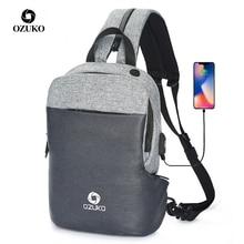 OZUKO çok fonksiyonlu göğüs paketi erkek moda omuz çantası Crossbody erkek su geçirmez göğüs çanta USB şarj seyahat tek kollu çanta