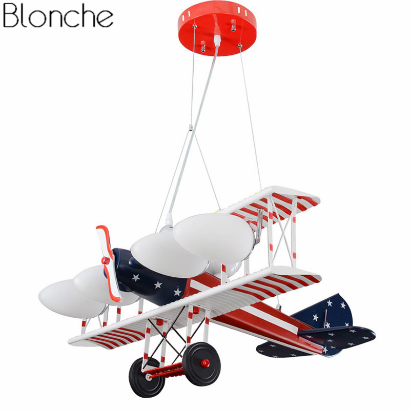 American Airplane Pendant Lights for Children Room Bedroom Lamp Retro Led Aircraft Hanglamp Cartoon Hanging Fixtures Home Decor creative retro children s aircraft pendant light modern plane led hanging lamp bedroom boy room kids cartoon fixtures home decor