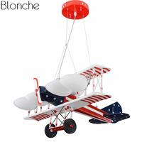 American Airplane Pendant Lights for Children Room Bedroom Lamp Retro Led Aircraft Hanglamp Cartoon Hanging Fixtures Home Decor