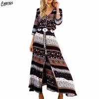 Estilo Boho tribal imprimir split Maxi vestido mujeres playa verano vestido V Masajeadores de cuello manga tres cuartos vestidos más tamaño