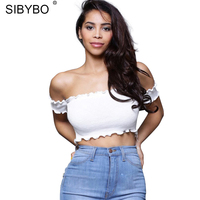 SIBYBO Sexy Off Shoulder Crop Top T Shirt Short Sleeve Ruffle T Shirt Women Tops Party