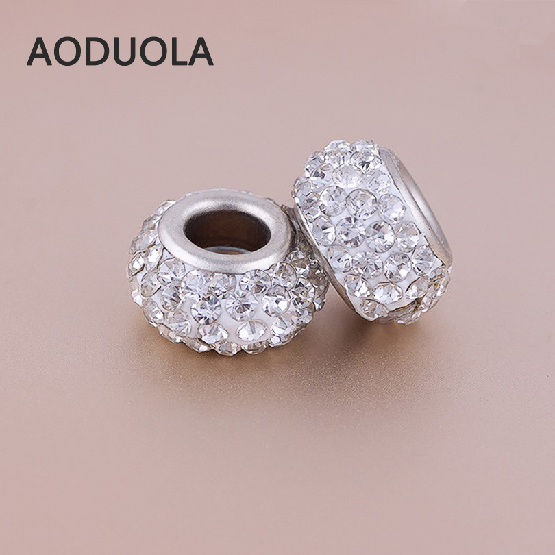 10pcs A Lot 4 Rows Rhinestone Beads Fit For Pandora Charms Bracelet