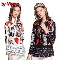 by Megyn 2019 women blouse with cat dog print blouse summer women blouse блузка женская bow tie plus size 3xl black white