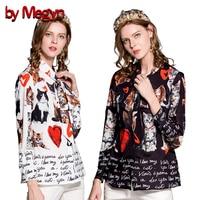 by Megyn women fashion shirts long sleeve bow necktie cat letter print shirt women blouses plus size 3XL 2018 new feminine shirt