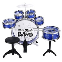 New Popular kid educational toy!Kids Drum Set Musical Instrument Toy 5 Drums with Small Cymbal Stool Drum Sticks for Boys Girls