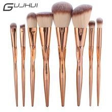 Набор металлических кистей для макияжа GUJHUI Pro, 8 шт., косметическая основа для лица, пудра, тени для век, румяна, покрытие для губ, набор кистей для макияжа, Maquiagem